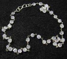 """RAINBOW MOONSTONE Faceted Flat Round Crystal Gemstone NECKLACE 17"""" Silver Plated"""