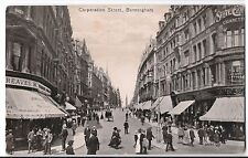 Birmingham, Corporation St PPC 1914 PMk, Good Animated Street Scene