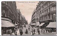Birmingham, Corporation St PPC 1914 PMk, Good Animated Street Scene