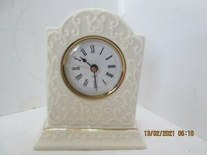 Vintage Creamy Whit Ivory Porcelain Clock Desk Nightstand Shabby Chic (2-M-2-15-