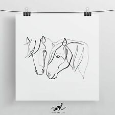 Horses Art Print, One Line Drawing, Horse and Equine Gift, Equestrian Art