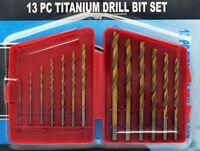 """13pc Titanium Drill Bit Set Multi Bits High Speed Steel 1/16"""" to 11/64"""" NEW"""