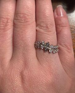 Diamond Leaf Ring (made with Swarovski Crystals)
