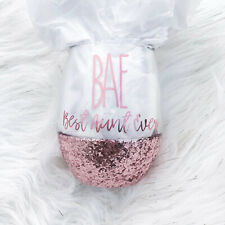 CHUNKY GLITTER BAE BEST AUNT EVER ROSE GOLD WINE GLASS 15 OZ GIFT FOR AUNTIE