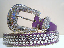 Women New Western Rodeo Rhinestone Crystal Purple Quality Bling Belt Size. Med