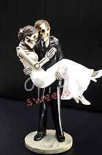 Wedding Skeleton Cake Topper-Groom Caring Bride-Halloween Party Supply-Figurine