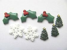 BB FLATBACKS MIXED MINI CHRISTMAS PK of 10 resin flatback flat backs hair bows