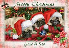 Personalised Christmas card pug  puppy son daughter grandson granddaughter