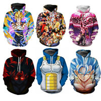 Dragon Ball Z Super 3D Hoodies Saiyan Goku Men Women Anime Pullover Size S - 5XL