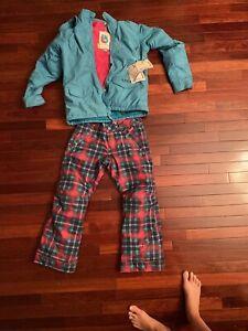 Burton Youth Girls Size Medium Ski Snowboard Pants and jacket teal plaid pink