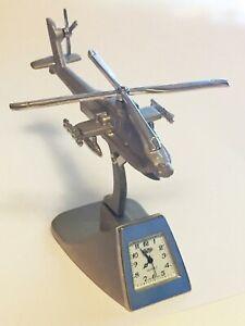 Desk Clock Vintage Platinum Apache Longbow Helicopter Desk Clock