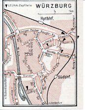 Würzburg 1939 kl. Leuna-Transit-Autokarte - zeitgenössische Straßen-Umbenennung