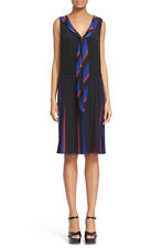 NWOT Marc Jacobs Pleated Tie Neck Shift Dress -Blue Multi-   $645  `Size 2`
