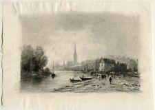 Bord de Seine au temps des impressionnistes - Dessin original ancien