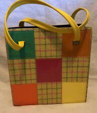Vintage 1960s Mod Tote Bag Shopper Purse Plaid Patch Work Design Bright Colors L