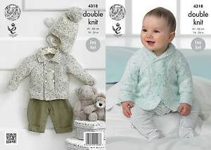 King Cole 4318 Knitting Pattern Babys Jacket and Hat in King Cole Smarty DK