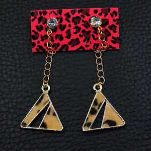Betsey Johnson Fashion Dangle Yellow rhinestones cute triangle earrings