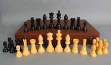 Antique 1930s ES Lowe Butterscotch & Black Bakelite Staunton Chess Set, NR