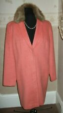LAURA ASHLEY LADIES WOOL MIX COAT WITH REMOVABLE FAUX FUR COLLAR   UK 14  EU 40