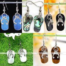 Natural Gemstone Abalone Shell Flip-flops Slipper Ear Drop Dangle Hook Earrings