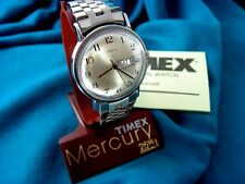 NOS VINTAGE TIMEX DELUXE MERCURY MENS MECHANICAL WATCH + BOX