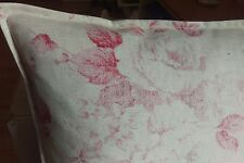 "17X17"" French vintage country linen look faded red  roses  flowers cushion cover"
