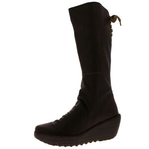 Womens Fly London Yust Leather Winter Fashion Wedge Heel Knee High Boots UK 3-9