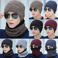 2Pcs Unisex Winter Beanie Hat And Scarf Set Cotton Blend Cap For Men's Women
