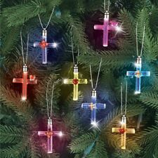 Set of 8 Lighted Color Changing Glass Cross Christmas Tree Ornaments