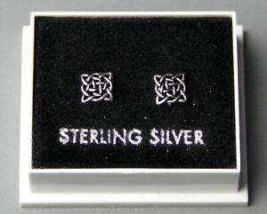 Sterling Silver 925 Stud Earrings  CELTIC SQUARE  BUTTERFLY BACKS  6mm  STUD 100
