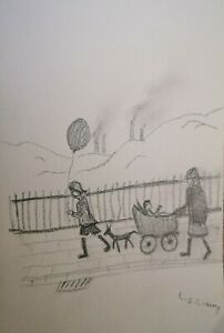 L S LOWRY,  A SIGNED PENCIL DRAWING.