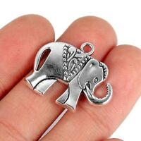 Silver Big Elephant Alloy Charm Pendant DIY Jewelry Making Findings 10Pcs