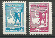 1942 TURKEY 2nd TYPE THICK PAPER NATIONAL DEFENCE TAX STAMPS COMPLETE SET MNH**