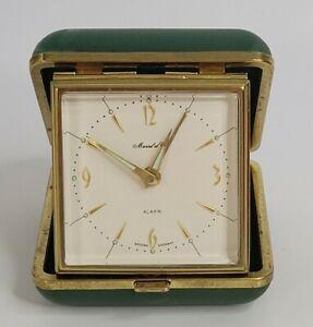 Vintage W German Marcel et Cie Mechanical Wind Up Alarm Clock/Green Case Works