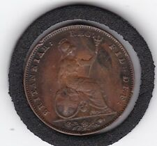 1845  Early  Queen  Victoria   Farthing   Copper  Coin