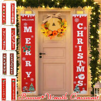 Merry Christmas Banner Flag Door Curtain Hanging Ornament Xmas Party Decoration