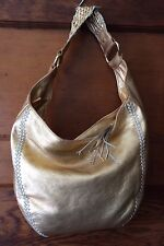 Via Srea Gold Goat Leather Hobo Shoulder Bag