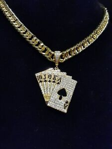Poker card shape pendant Necklace Yellow Gold Plated Cards With Cuban Link Chain