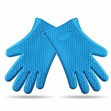 1Pair Silicone Heat Resistant Gloves Oven Mitts Pot Holder BBQ Mitts,1/4 kg/
