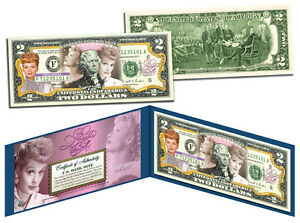 LUCILLE BALL * I Love Lucy 100th Birthday * Colorized U.S. $2 Bill * LICENSED *