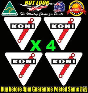 KONI SHOCKS STICKERS x4 50mm Car Race Rally Motorsport Shock Absorber JDM Decals