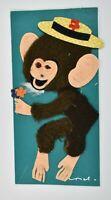 Vintage Anthropomorphic Monkey Greeting Card Fuzzy Felt Craft  Handmade Germany