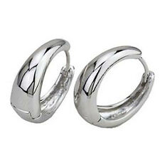 Filled Smooth Womens Hoop Earing 20Mm Handsome 9K Silver Filled White Gold