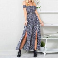 Women Vintage Floral Off Shoulder Long Maxi Dress Romper Summer Holiday Jumpsuit
