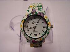 Geneva Ladies Floral Watch Quartz pvc links