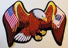 BIG USA FLAG / ARMY FLAG EAGLE PATCH - 12 INCHES! MOTORCYCLE VEST EAGLE PATCH