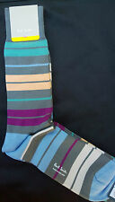 Paul Smith Mens Mid Length English Socks Battery Stripe Grey F810 OneSize Cotton