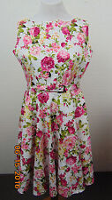 New ,dress brand Blackbutterfly Size 12 Floral Cotton with  lined belted