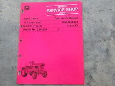 John Deere 110 Lawn Garden Tractor Operators Manual Near Mint NICE!