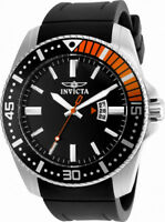 Invicta Pro Diver 21392 Men's Black Orange Analog Date Silicone Watch